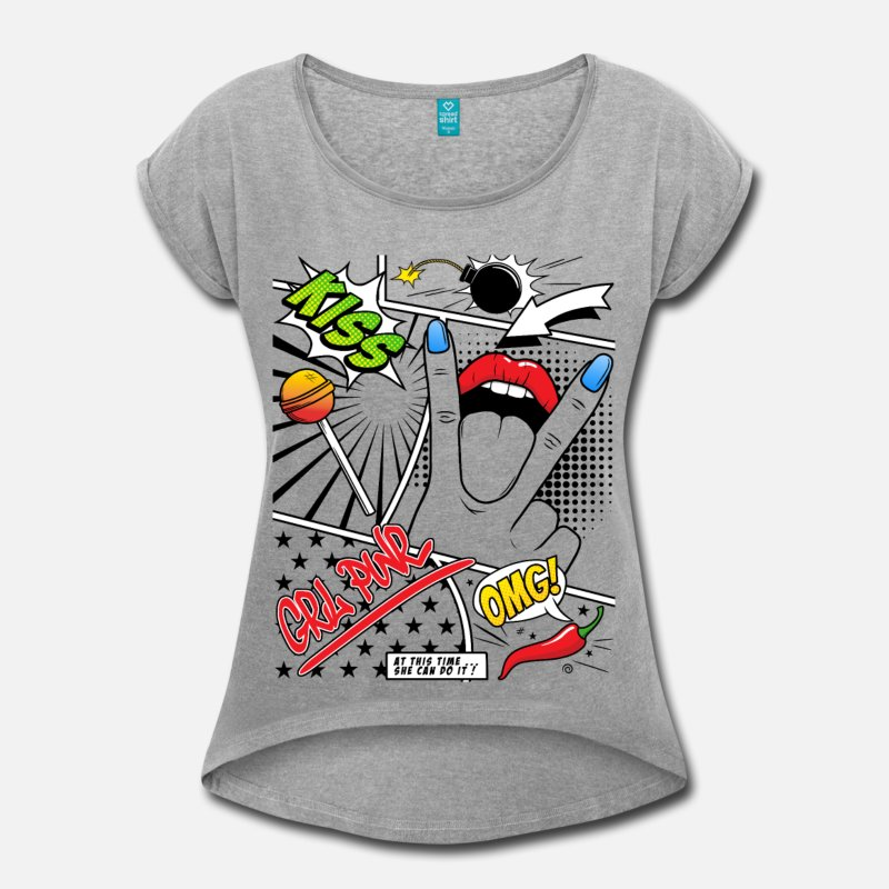 grl-pwr-t-shirt-a-manches-retroussees-femme
